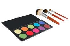 Palette et brosses de maquillage Photographie stock