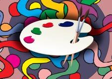 Palette et peinture Photos stock