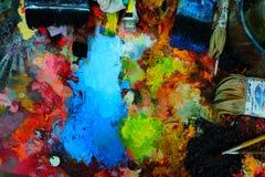 Palette et pinceau Images stock