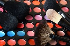 Palette of eye shadow close up Royalty Free Stock Photo