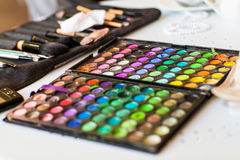 Palette with eye shadows Royalty Free Stock Photography