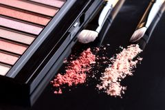 Palette of eyeshadow and two brushes on black background. Set of cosmetics. On dark stock photography