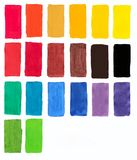 Palette of gouache, all the colors of the rainbow colors list of flowers squares stock illustration