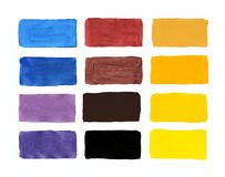 Watercolor colors on paper, palette of gouache, all the colors o royalty free illustration