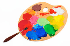 Palette Knife. Bright acrylic color on the  art palette Royalty Free Stock Images