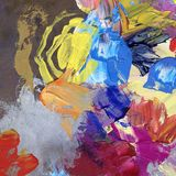 Palette knife and paintbrush artwork Royalty Free Stock Photography