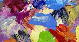 Palette knife and paintbrush artwork Royalty Free Stock Photos