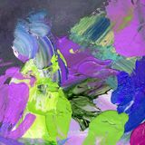 Palette knife and paintbrush artwork Royalty Free Stock Images