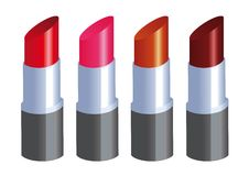 Palette of  Lipsticks. Illustration of four lipsticks, in different colors Stock Images