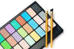 The palette for makeup. With two brushes Royalty Free Stock Photography