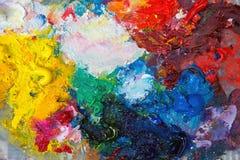 Palette mit Ölfarbe Stockfotos