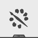 Palette mit Bürstenikone für Netz und Mobile Stockbild