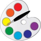 Palette mit Farben Stockfotos
