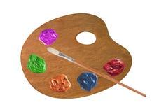 Palette mit Farbfarben und Bürste lokalisiert auf Weiß Lizenzfreie Stockfotografie