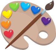 Palette mit farbigen Herzen stock abbildung