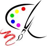Palette mit Zeichnungsbürste lizenzfreie abbildung