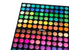 Palette of multicolor cosmetic make up, eye shadow palette, colorful shadows texture, round color circles, isolated on white backg. Round stock photos