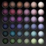 Palette multicolore ronde de fards à paupières de vecteur Image libre de droits