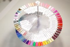 The palette of nail Polish, an unusual palette of nail Polish, whirling palette stock photography