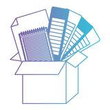Cardboard box and color palette guide and notebook and sheet blank in degraded purple to blue contour. Palette notebook sheet box package pack notepad note royalty free illustration