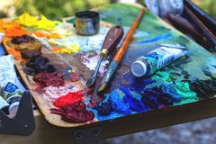 Palette Of Colors, Brushes Multicolor Stock Photography