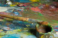 Palette and oil Royalty Free Stock Photography