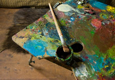 Palette and oil. In the studio Stock Photo