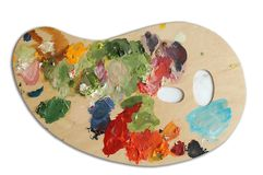 PALETTE OIL. An image with palette with oil paints Stock Images
