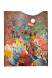 Palette with oil paint Stock Images