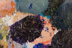 Palette with oil paint dried. Royalty Free Stock Images
