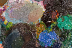 Palette with oil paint dried. Stock Images