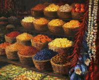 Palette of The Orient. An oil painting on canvas of a colorful market stand in the Orient with fruits, candies, spices and vegetables on display. Colorful Royalty Free Stock Image