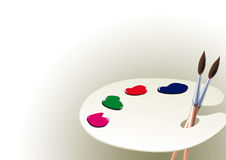 Palette and paint  Stock Photography