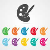 Palette and Paint Brush Icon Stock Images