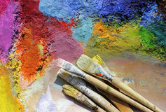 Palette and paint brushes Royalty Free Stock Photo