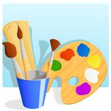 Palette with paint and brushes in bucket. Royalty Free Stock Image