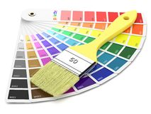 Palette of paint samples and paintbrush Stock Image