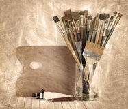Palette with paintbrush Royalty Free Stock Photo