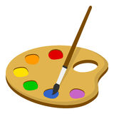 Palette and Paintbrush Flat Icon on White Stock Images