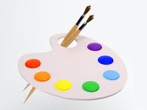 The palette with paintbrush and paint Stock Photography