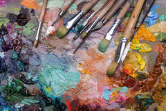 palette with paintbrush and palette-knife Royalty Free Stock Photo