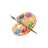 Palette and paintbrush from polygons Royalty Free Stock Photos