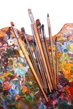 Palette with paintbrushes Royalty Free Stock Image