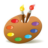Palette and paintbrushes. Paintbrushes and palette with basic colors. EPS8 vector illustration vector illustration