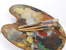 Palette and paintbrushes Royalty Free Stock Photography
