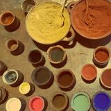 Palette of painting colors Royalty Free Stock Photography
