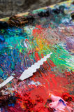 Palette for painting. The palette for painting and palette knife stock photos