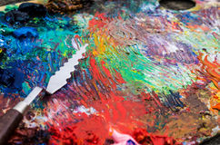Palette for painting. The palette for painting and palette knife royalty free stock images