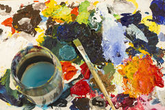 Palette with Painting Material Stock Photos