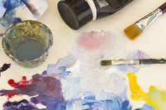 Palette with Painting Material Royalty Free Stock Images